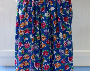 Retro womens skirt, vintage skirt, floral pattern, blue, purple, pink, orange, womens, clothing, polyester