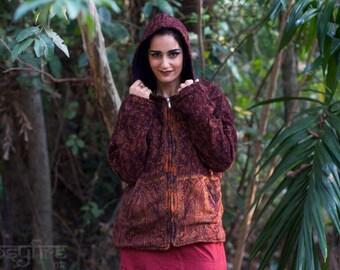 RED Winter Hoodie - Hippie Jacket, Festival Jacket, Hippie Hoodie, Festival Hoodie, Psytrance Jacket, Psy, Pixie Coat, Hippie Coat, Winter