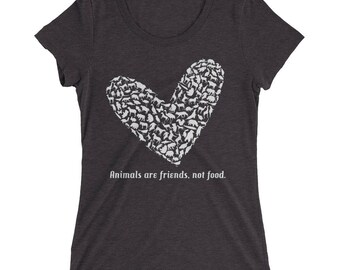 Vegan Shirt | Animals are Friends, Not Food | Use Your Heart Ladies' short sleeve t-shirt | Vegan Gift | Gift for Vegan | Vegan Gift | Frien