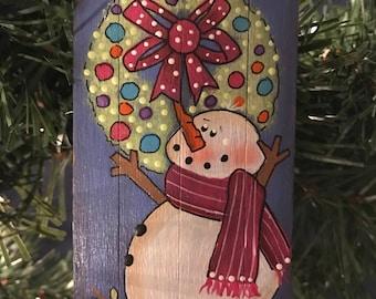 Snowman Ornament, Tag, Christmas Tree, Ornament, Wreath, Snowman, Holiday Decor, Laurie Speltz