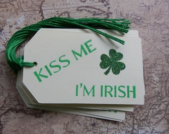 Kiss Me I'm Irish - Shamrock Tags - St. Patricks Day- Tags - Gift Tags (8)