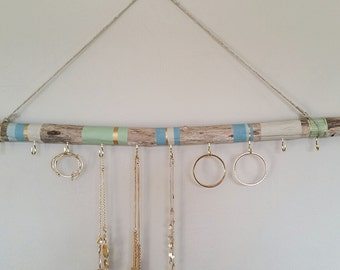 Driftwood Jewelry Organizer, Hanging Jewelry Display, Aztec Necklace Holder, Wall Jewelry Display, Bohemian Jewelry Holder, Custom Order