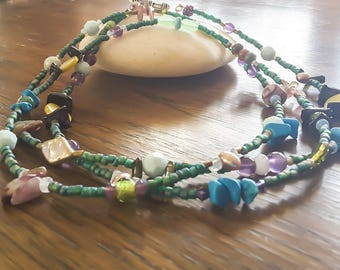 Bohemian long necklace, colorful beaded necklace, long stone, boho colorful green necklace, unique spring, vibrant triba, Summer Outdoors