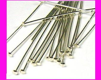 50x 26 gauge 1.5 inches sterling silver flat head pin fine headpins findingd F02