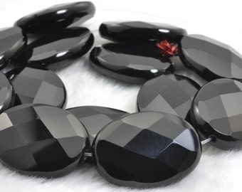 15 icnhes of Black Onyx faceted oval beads in 22X30mm