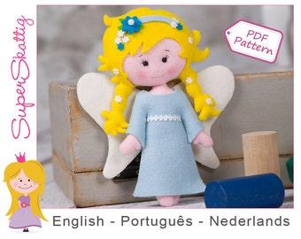 Felt Pattern Noa the Angel, softie pattern doll, plush pattern, pdf sewing pattern fairytale by Superskattig