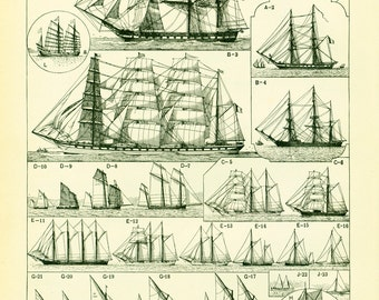 1897 Rigging Old Sailing Ship Antique Large Size illustration, original Larousse print, french antique, framing 115 YEARS OLD