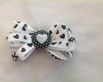 New, black and white, barrette, hair clip, bow, hearts, checks, polka dots, little girls