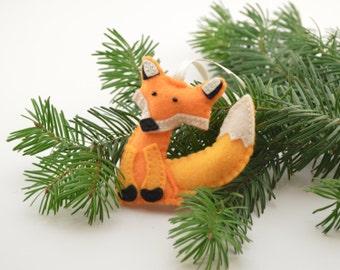 Fox, Christmas decoration, Christmas tree decoration, handmade decoration, Felt decoration, Felt Christmas ornament, felt fox, Fox ornament