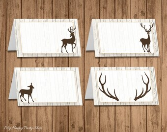 Deer buffet cards / Food label / Place cards, Woodland Baby Shower, Woodland Birthday, Editable, Instant Download - BSB005