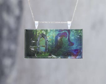 A Glowing Portal in the Forest: Glow in the dark pendant showing a door beside a forest stream - B4