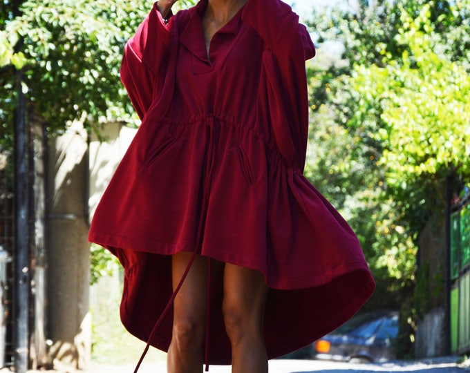 Extravagant Hooded Sweatshirt, Cotton Long Tunic, Asymmetric Burgundy Tunic, Hooded With Front Pockets by SSDfashion