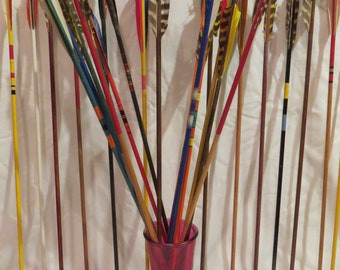 Vintage wood arrows. Decorative vintage wooden arrows. Pick up to 6 archery colorful painted wood shafts with feather fletchings