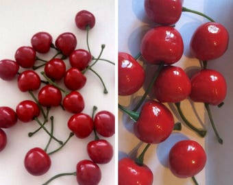 lot of 100 pcs Plastic Artificial Fake Cherry Crafts Fruit Berry Crafts House Party kitchen Home decor wedding decoration artificial flowers