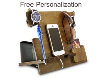 Wood Docking Station or Nightstand Organizer, Charging Station Organizer, Cell Phone Holder for Desk, Wooden Charging Station, Laptop Stand