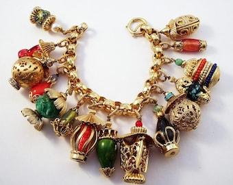 Napier gold tone Chinese Lantern charm bracelet
