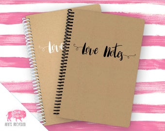 Spiral Notebook | Spiral Journal Planner | Journal | 100% Recycled | Love Notes | BB057