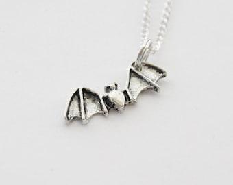 Bat Necklace, Vampire Bat Necklace, Halloween Necklace, Bat Jewelry, Halloween Jewelry, Silver Necklace, Initial Necklace