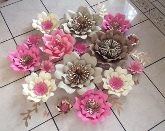 Set of 16 paper flowers- baptism, first communion, wedding, bridal shower