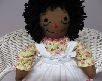 Mini African American Raggedy Ann Doll 15 inches tall Handmade in the USA Custom Personalized Doll