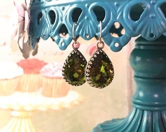 Olivine Swarovski Crystal Earrings in Antique Silver Crown French Hooks
