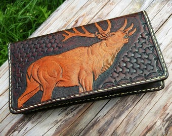 Leather long wallet,handmade,hand carved