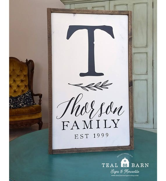Family Name And Initial Monogram Sign PERSONALIZED Established