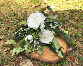 White rose, baby's breath and lush greenery keepsake bouquet, artificial wedding flowers, bridal bouquet, silk bouquet, ivory flower bouquet