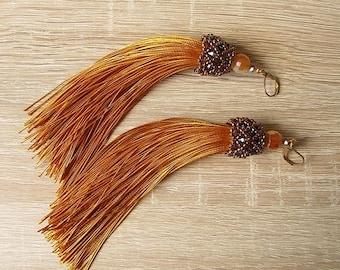 Gold Tassel Earrings Satin/Silk Tassel Earrings Gold Dangle Earrings Tassel Light Earrings Gold Long Earrings Boho Tassel Earrings