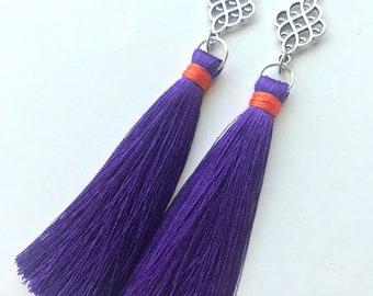 Clemson Tassel Earrings, Gameday Tassel Earrings, Long Tassel Earrings, Silk Tassel Earrings, Trendy Earrings, Short Tassel Earrings, Fringe