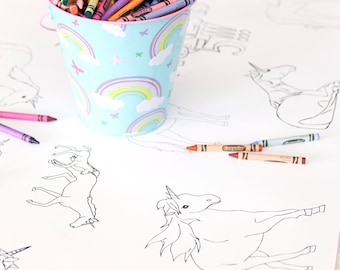 Personalized Unicorn Party Table Runner Coloring Page