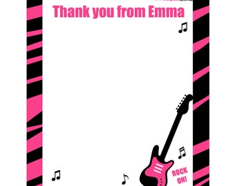 20 Personalized Thank You Cards   -  Pink Zebra Rock Star