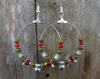 Creole beads red, Khaki and silver metal drops