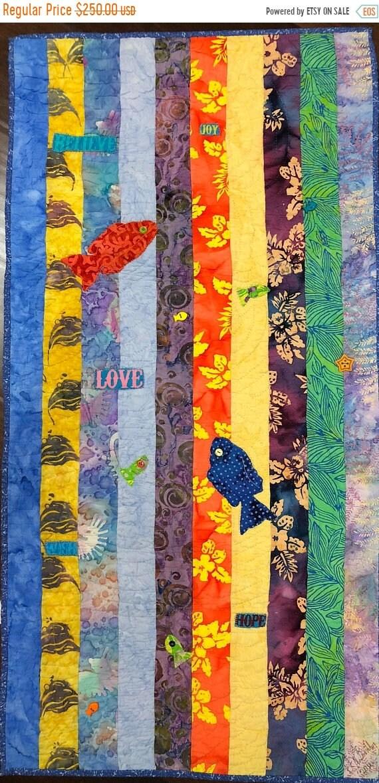 Hello Summer Sale Swimming Upstream, Number 3, 19 x 39 inch art quilt