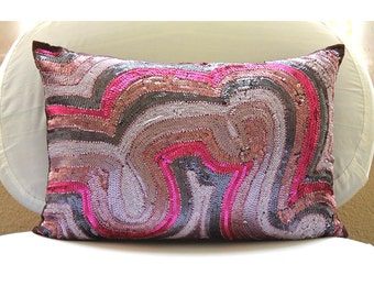 Decorative Pillow Covers 12x16 Oblong Rectangle Silk Bead Embroidered Pillows Pink Purple Couch Sofa Toss Bed Pillow Cases - Wonder Lust