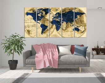 Canvas quote wall art push pin world map with name print on 5 panel world map canvas print push pin world travel tracker map wall art gumiabroncs Image collections