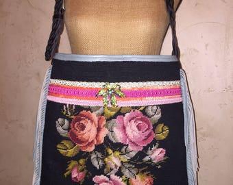 Large Vintage Floral Needlepoint Leather Fringe Handbag Tote