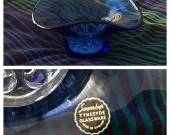 REDUCED! Vintage 1950s/60s Sowerby's Blue Glass Bowl with Clear Glass Flower Frog, Original Sticker