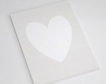 White Shimmer Heart on Light Silver Shimmer background // light siver heart // light grey heart // PRINT 5x7