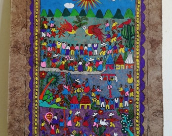 Mexican Folk Art, Original Artwork, Mexican Decor, Mexican Painting, Hand  Painted, Bark Paper, Harvest Festival, Wall Art, 60cm X 40cm