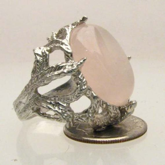 Handmade Sterling Silver Rose Quartz Claw Ring