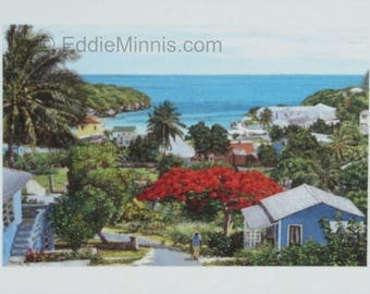 Gregory Town - Bahamian art print of original oil painting by Eddie Minnis