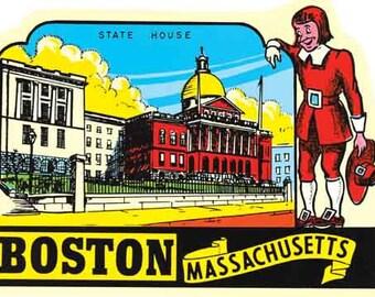 Vintage Style Boston Massachusetts New England  Travel Decal sticker