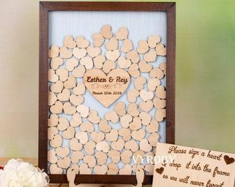 Guest book shadow box Wedding heart guestbook Teal and brown wedding Unique wedding guest book alternative Wedding heart drop box frame sign