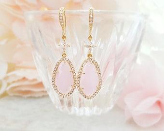Pink Opal Earrings - CZ Teardrop Earrings - CZ Crystal Dangle Earrings - Pink Bridal Crystal Drop Earrings - Rose Quartz Earrings E2400