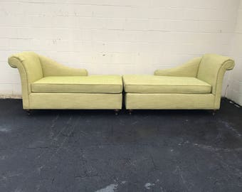 2   Green Fainting Couches  Right And Left Sides   ONE OF A KIND!