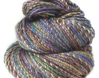 Handspun Yarn handdyed merino wool yak and silk