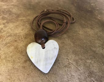white HEART pendant necklace , cow horn jewellery, Anniversary Valentines Day Gift For Her, birthday present for her, LOVE heart necklace