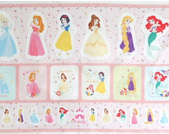 """Disney Princess Fabric made in Korea, By the Panel  35"""" by 60""""  90Cm X 150Cm Oxford"""
