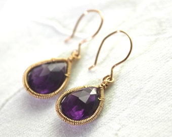 Gold Amethyst Teardrop Earrings - Plum - Dark Purple Earrings - Wire Wrapped Birthstone Jewelry